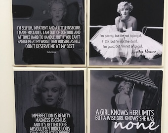 Coasters- Handmade Black and White Marilyn Monroe Quotes Ceramic Coaster Set of 4- Home Decor