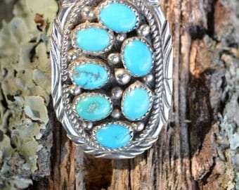 Huge Native American Sterling Silver and Turquoise ring