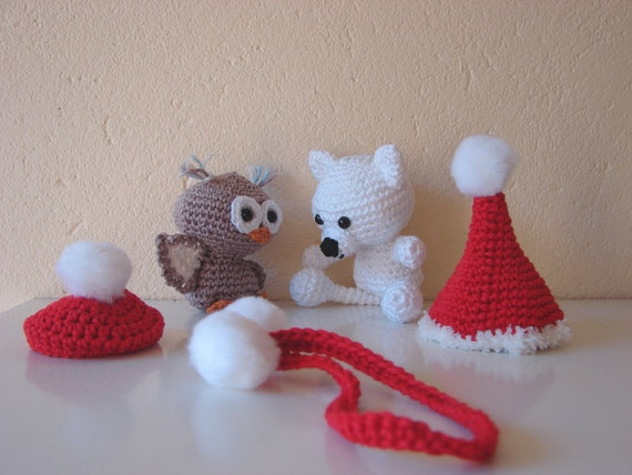 Polar bear and owl ornament crochet pattern ice bear and ...