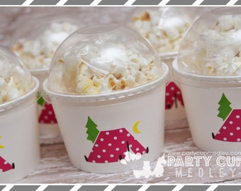 Camping Birthday Party-Camp Out Party Cups-Treat Cups