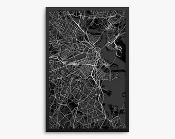 Boston City Street Map, Boston Massachusetts USA, Modern Art Print, Office Decor, Boston Decor, Boston Map, Boston Poster, Boston Gift Idea