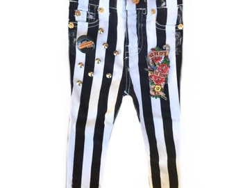 Black and white striped jeans. Toddler skinny jeans 12 months Distressed denim. Studded jeans Patched jeans. Toddler girl clothes Sublime