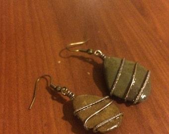 Wire Wrapped River Rock Earrings