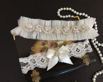 wedding garter set, tulle bridal garter set, lace, bow, rhinestone