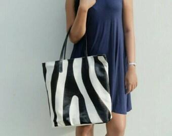 Animal print, leather tote bag, calf hair tote bag, laptop tote bag, tote bag stripes, leather bag, animal print shoulder bag, shopper bag