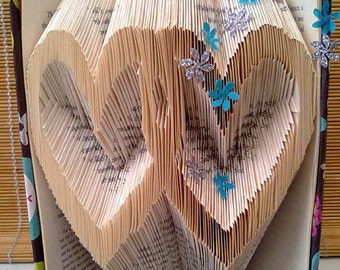 Valentines Day Folded Book Art Entwined Hearts