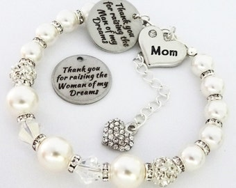 Swarovski - WHITE 3bd10m - ' Mom ' Raising Man or Woman of Dreams' Bracelet, mother of the Groom,Mother in law bracelet ,Brides mother gift