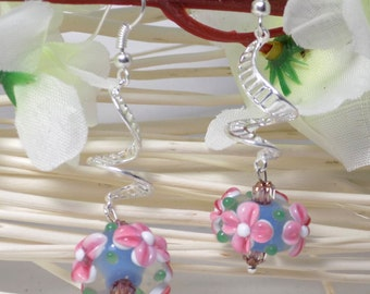 lampwork earrings on spiral 3