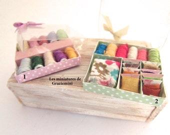 Miniature sewing  box- unique items- Scale 1:12- Dollhouses miniatures