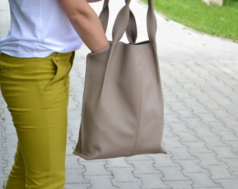 GREY LEATHER TOTE Bag - Large Tote Bag - Tan Italian Leather Handbag