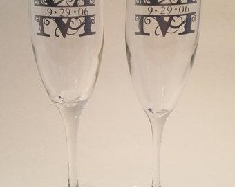 Monogrammed Champagne Glass Wedding Reception Anniversary