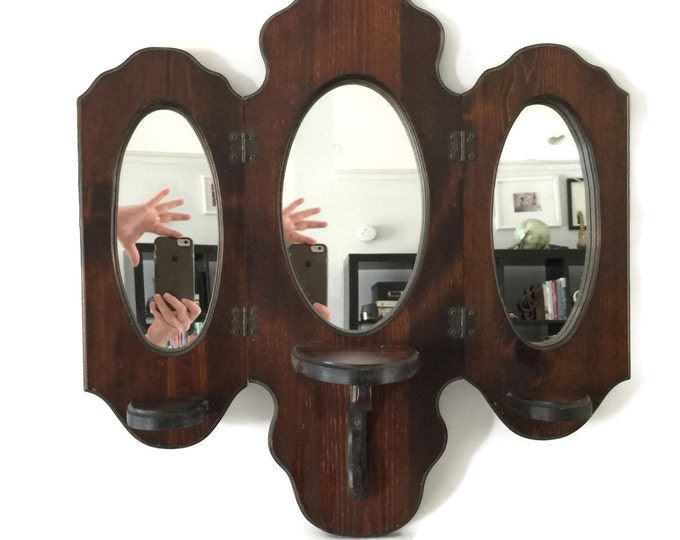 Three Way Mirror with Shelf, Wall Candle Sconce