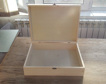 large wooden big box unfinished wood box extralage box, storage box 40x30x10cm exterior dimensions