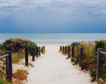 Stormy sky, blue ocean print, sandy beach photo ocean beach blue photography 8 x10 6 x 8 wall decor beach photography fine art photography