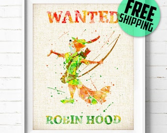 Disney, Robin Hood Fox Wanted, Poster, Watercolor Painting, Wall Art Print, Birthday Gift, Nursery Prints, Kids Wall Decor, Home Decor, 171