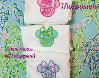 Minnie Mouse Head Lilly Pulitzer Monogram Applique with your choice of print! Disney Womens Monogram Shirt