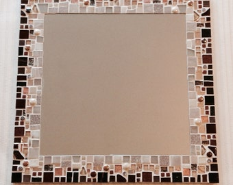 Large Square Mosaic Wall Mirror in shades of Brown, Copper & Ivory 40cm x 40cm Bathroom, Living Room, Hall