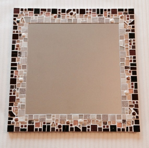 Large square mosaic wall mirror in shades of brown copper for Large square mirror