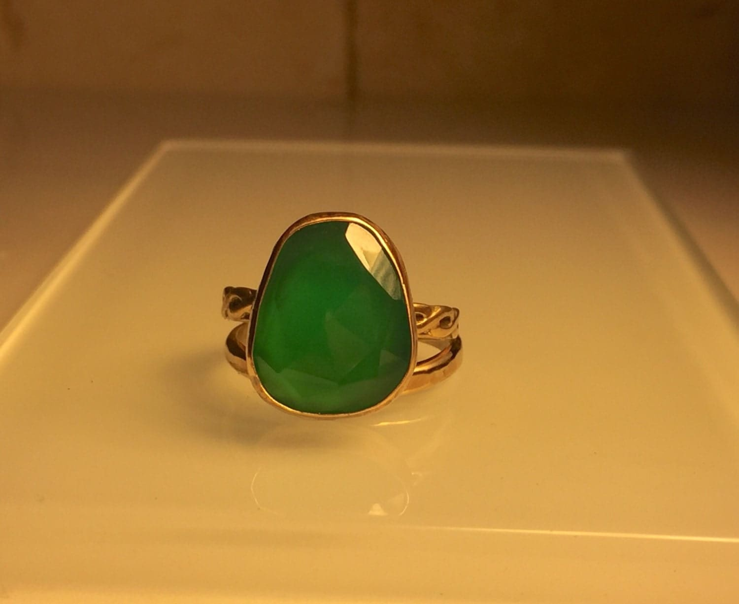 handmade gemstone ring emerald chalcedony and by jewelriart