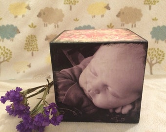 Baby Birth Info Block, Baby Announcement Block, Nursery Decor, Picture Block,