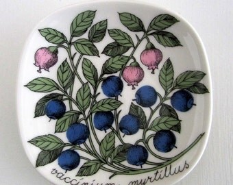 "Arabia Finland Wall plate ""Blueberry"" Botanica-series design Esteri Tomula in 80s"
