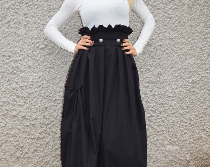 Black Loose High Waisted Skirt, Maxi Cotton Long Skirt, Extravagant Oversize Skirt, Plus Size Clothing By SSDfashion