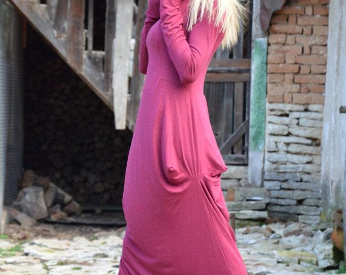Womens Kaftan Turtleneck Dress, Extravagant Long Dress, Maxi Plus Size Clothing, Loose Soft Dress by SSDfashion