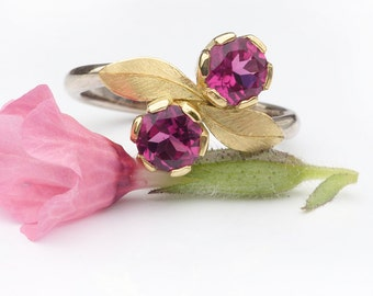 Pink Tourmaline Ring in Moi et Toi Design | Eco Friendly 18k Gold | Handmade to Size in the UK