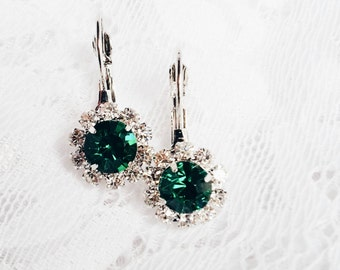 Green Rhinestone Earrings, Emerald Green Earrings, Green Crystal Earrings, Gift For Her Mom