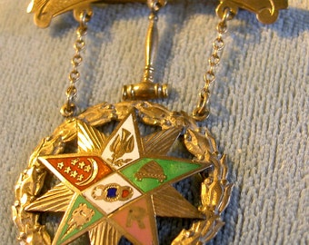 Rebekah, order of oddfellows, enameled gold chairperson badge