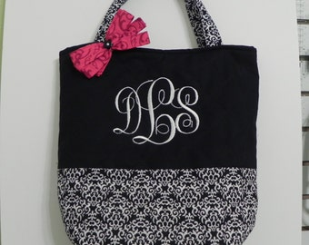 Handmade quilted tote bag monogrammed bridesmaid gifts