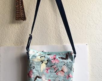 Beautiful Butterfly One Strap Crossbody Zippered Bag