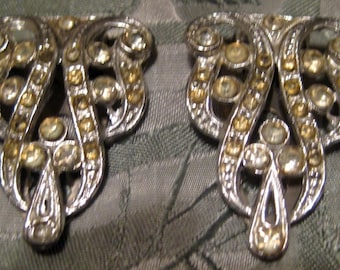 Vintage Swirly Rhinestone Shoe Clips