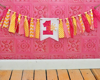 Shabby Rag Flag Fabric High Chair Banner - You Are My Sunshine Photo Prop - Yellow Bright Pink Sun Birthday Party Cake Smash Decor Highchair
