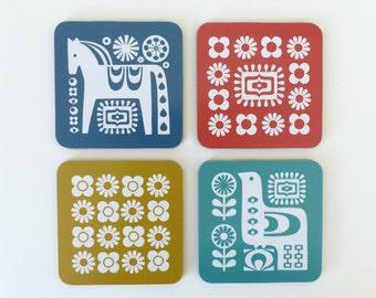 Mid Century Set of Coasters - Retro, 1970s, Dala Horse, Scandinavian Bird and Flowers Pattern
