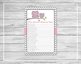 Owl Baby Shower Who Knows Mommy Best Game - Printable Baby Shower Who Knows Mommy Best Game - Pink Owl Baby Shower - Who Knows Mommy - SP134