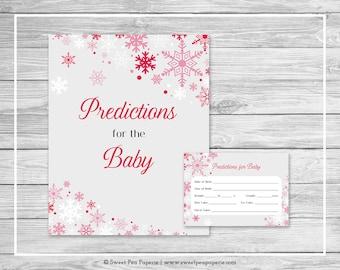 Winter Wonderland Baby Shower Predictions for Baby - Printable Baby Shower Predictions for Baby - Winter Wonderland Baby Shower - SP115