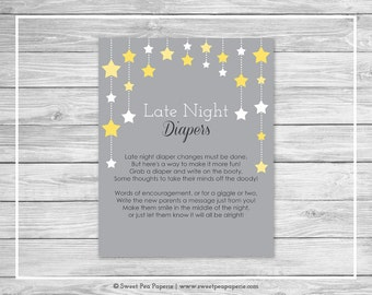 Twinkle Little Star Baby Shower Late Night Diapers Sign - Printable Baby Shower Late Night Diapers - Twinkle Little Star Baby Shower - SP117