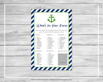 Nautical Baby Shower What's In Your Purse Game - Printable Baby Shower What's In Your Purse Game - Navy Green Baby Shower -Purse Game- SP120