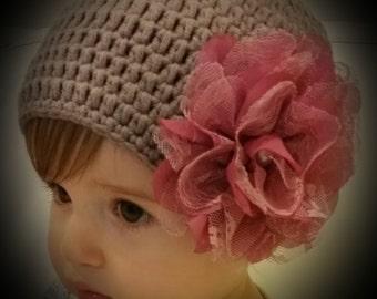 Newborn baby girl beanie.Light brown crochet baby girl beanie.Embellished beanie.Newborn beanie