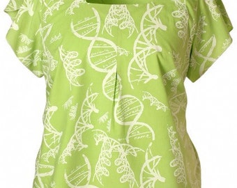 Green Blouse Tulip sleeve DNA print