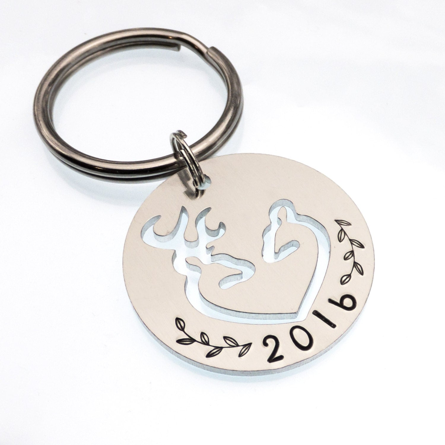 Anniversary Date Buck And Doe Heart Keychain Hunter Keychain
