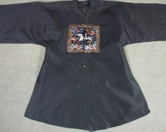 Rank Badge Antique Chinese Surcoat  Chinese Embroidered Silk Robe Textile