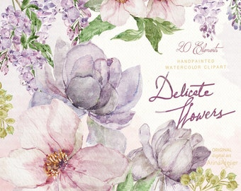 Delicate Flowers Watercolor Clipart - Spring Flowers Clipart - Floral Clipart, Wedding Flowers, Wedding Invitation, DIY Invitations, Prints