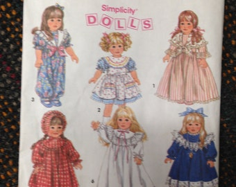 "Baby DOLL Wardrobe 18"" sewing pattern.  Simplicity #8211.  UNCUT!"