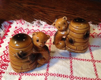 Beehive, Honey Bear S&P Shakers.  Japan