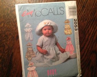 Infant Dress Romper Hat.  McCalls 2053 EASY Sew Pattern