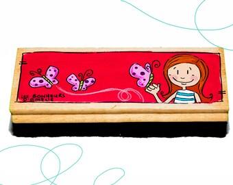 Brosse à tableau, fille, papillons, cadeau, enseignante, primaire