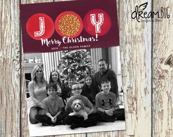 Holiday Photo Card - Christmas Photo Card - DIY - Printable - Digtial File
