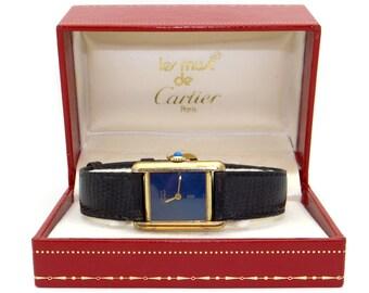 Must de Cartier Tank Paris 18k Gold Vermeil Plaque Manual Wind Blue Dial Watch